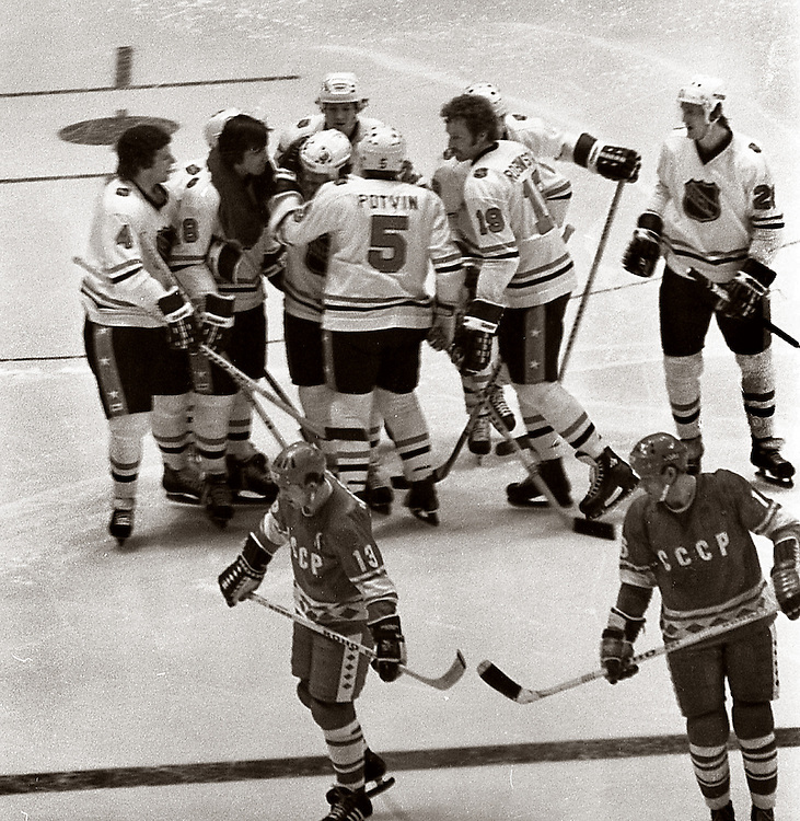 Taken at Madison Square Garden in 1979 at the U.S.S.R. versus NHL series. The NHL stars have just scored a goal here.