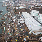 FUKUSHIMA, JAPAN - MARCH 8: An aerial photo of Tokyo Electric Power Co (TEPCO)'s Fukushima Daiichi Nuclear Power Plant is seen on March 8, 2018 in Okuma, Fukushima, Japan. (Photo by Richard Atrero de Guzman/AFLO)