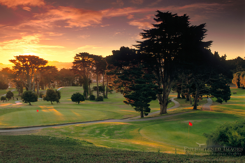 Sunset over golf course green at Lincoln Park, San Francisco, California