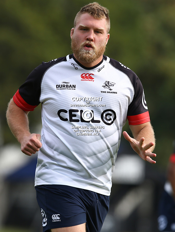 Ross Geldenhuys during The Cell C Sharks training session at Growthpoint Kings Park in Durban, South Africa. 21 August 2017(Photo by Steve Haag)<br /> <br /> images for social media must have consent from Steve Haag