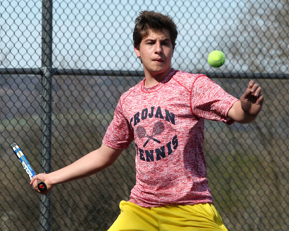 Southwestern's Lucas Przygodski returns a volley to Frewsburgh's Caleb Barber during first singles action at Soiuthwesterm Photo by Marlk L. Andereson