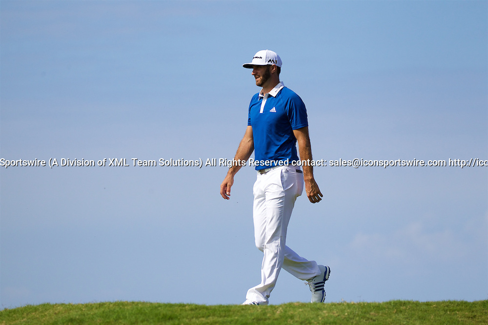 January 08 2016: Dustin Johnson walks of the fifth tee during the Second Round of the Hyundai Tournament of Champions at Kapalua Plantation Course on Maui, HI. (Photo by Aric Becker/Icon Sportswire)
