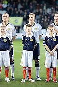 Scotland's David Wotherspoon and mascot - Scotland v Holland - UEFA U21 European Championship qualifier at St Mirren Park..© David Young - .5 Foundry Place - .Monifieth - .Angus - .DD5 4BB - .Tel: 07765 252616 - .email: davidyoungphoto@gmail.com.web: www.davidyoungphoto.co.uk