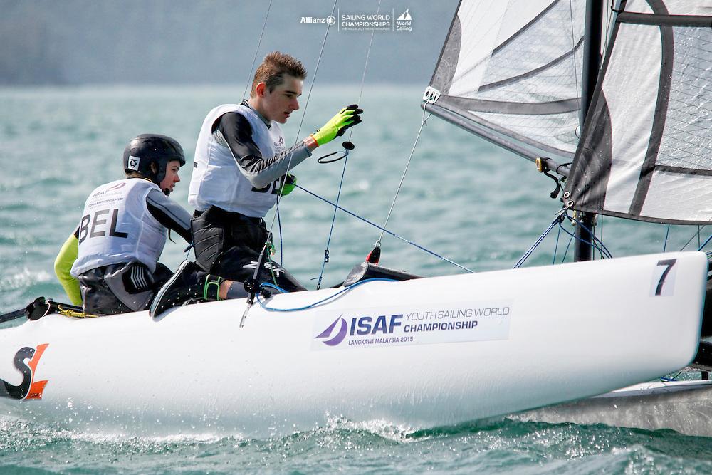 BelgiumSirena SL16OpenCrewBELMW2MorganWirtz<br />BelgiumSirena SL16OpenHelmBELES4Eug&eacute;nieSimons<br />Day4, 2015 Youth Sailing World Championships,<br />Langkawi, Malaysia