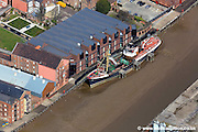 aerial photograph of  the Artic Corsair Trawler in the museum quarter of  in Kingston upon Hull England UK
