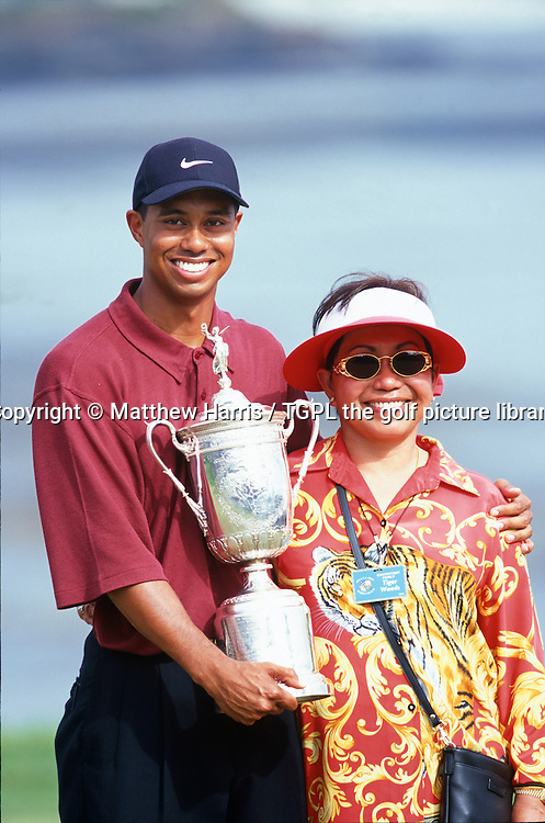 Tiger WOODS (USA)  all smiles with his mum Tida at the trophy presentation during US Open Championship 2000, Pebble Beach Golf Links,Pebble Beach,California,USA.