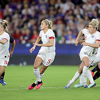 England defenders Leah Williamson (14), Steph Houghton (5) and  Millie Bright (6) are seen during the first match of the 2020 She Believes Cup soccer tournament at Exploria Stadium on 5 March 2020 in Orlando, Florida USA.
