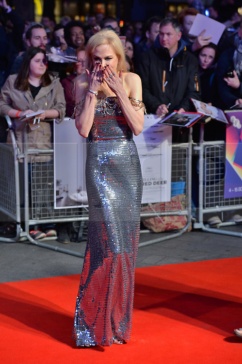 © Licensed to London News Pictures. 12/10/2017. London, UK.  NICOLE KIDMAN attends the UK film premiere of Killing Of A Sacred Deer showing as part of the 51st BFI London Film Festival. Photo credit: Ray Tang/LNP