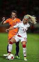 Football - 2017 UEFA Women's European [Euro] Championship - Group A : Netherlands vs. Denmark<br /> <br /> Line Jensen of Denmark and Renate Jansen of The Netherlands  at Sparta Stadoin , Rotterdam.<br /> <br /> COLORSPORT/LYNNE CAMERON