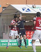 Dundee's Craig Beattie and Hamilton Academical's Jesus Garcia Tena - Hamilton v Dundee, SPFL Championship at <br /> New Douglas Park<br /> <br />  - &copy; David Young - www.davidyoungphoto.co.uk - email: davidyoungphoto@gmail.com