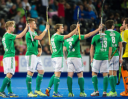 The Irish team acknowledge the crowd before the start. Ireland v Germany - Unibet EuroHockey Championships, Lee Valley Hockey & Tennis Centre, London, UK on 23 August 2015. Photo: Simon Parker