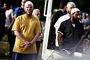 Frankfurt am Main | 07.05.2011..Am Samstag (07.05.2011) trat der radikalislamische salafistische Prediger Pierre Vogel (Abu Hamza) auf dem Rebstock-Gelaende in Frankfurt am Main bei einer Vortragsveranstaltung vor etwa 500 vorwiegend jungen Menschen auf. um ueber Islam und Terrorismus zu sprechen. Hier: Junge Maenner aus dem Sicherheitsteam von Vogel...©peter-juelich.com..[No Model Release | No Property Release]