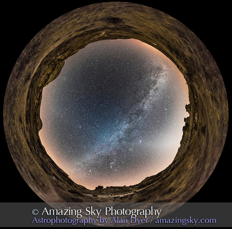 A 360&deg; panorama of he winter sky and Milky Way at Dinosaur Provincial Park in southern Alberta, on a very clear night, February 28, 2017. The Milky Way stretches across the sky from south (bottom) to northwest (at top right). The Zodiacal Light stretches up from the horizon in the west at right, and can be traced faintly across the sky to the east (at left) where there is a dim glow of Gegenschein visible. <br /> <br /> The view is looking south and in this scene the galactic anti-centre is near the centre of the image &mdash; i.e. we are looking toward the outer edge of the Galaxy, to the outer spiral arms opposite the galactic centre in Sagittarus, visible in summer. <br /> <br /> Orion is at bottom centre, almost due south. North is at top. <br /> <br /> This is a stitch of 6 segments with the 12mm Rokinon lens at f/2.8 for 30 seconds each, with the Nikon D750 at ISO 6400, mounted portrait. Stitched with PTGui.