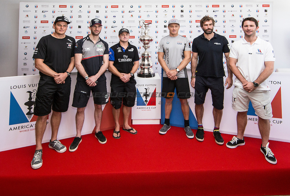 America's Cup arrives in Muscat.Official opening press  conference.Dean Barker, Ben Ainslie,Glenn, Ashby,Jimmy Spithill,Iain Percy,Adam Minoprio.Louis Vuitton America's Cup World Series Oman 2016. Muscat ,The Sultanate of Oman.Image licensed to Jesus Renedo/Lloyd images/Oman Sail