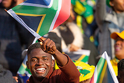May 25, 2019, Pretoria, South Africa: A man celebrates during the inauguration ceremony of newly-elected South African President Cyril Ramaphosa in Pretoria at Loftus Versfeld stadium in Pretoria. (Credit Image: © Stringer/Xinhua via ZUMA Wire)