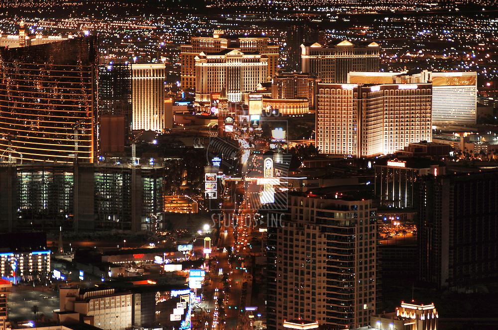 Las Vegas Skyline looking down the Strip at night