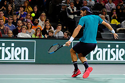 October 31, 2017 - Paris, France - The Spanish player FELICIANO LOPEZ returns the ball to French player wild card PIERRE HUGES HERBERT during the tournament Rolex Paris Master at Paris AccorHotel Arena Stadium in Paris France.Feliciano Lopez  won 7-6 6-3 (Credit Image: © Pierre Stevenin via ZUMA Wire)