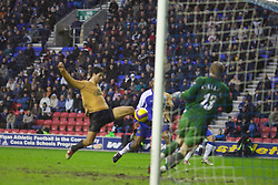 Wigan, England - Sunday, January 21, 2007: Everton's Mikel Arteta scores the second goal against Wigan Athletic during the Premier League match at the JJB Stadium. (Pic by David Rawcliffe/Propaganda)