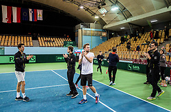 Aljaz Bedene, Nik Razborsek, Tom Kocevar Desman, Miha Mlakar of Slovenia after the Day 2 of Davis Cup 2018 Europe/Africa zone Group II between Slovenia and Poland, on February 4, 2018 in Arena Lukna, Maribor, Slovenia. Photo by Vid Ponikvar / Sportida
