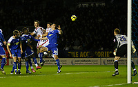 Photo: Steve Bond/Richard Lane Photography. Leicester City v Crystal Palace. E.ON FA Cup Third Round. 03/01/2009. Clint Hill (C, highest) heads for goal