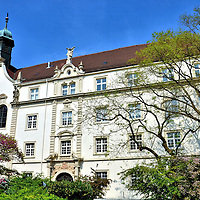 """Convent School of St. Grave in Baden-Baden, Germany<br /> In 1670, a monastery was formed by Countess Maria Franziska and the boarding school was taught by five nuns.  It was burnt down by French troops 19 years later but reestablished at the turn of the 18th century.  Over the archway of this building it reads """"Jnstitut z HL. Grab"""" and is dated 1698.  Today, it houses the Convent High School of St. Grave which is part of the Archdiocese of Freiburg."""