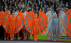 BASEL, SWITZERLAND - Wednesday, May 18, 2016: Performers during the opening ceremony before the UEFA Europa League Final between Liverpool and Sevillaat St. Jakob-Park. (Pic by David Rawcliffe/Propaganda)