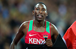 London, August 08 2017 . Conseslus Kipruto, Kenya, does a victory lap after becoming world champion in the men's 3,000m steeplechase final on day five of the IAAF London 2017 world Championships at the London Stadium. © Paul Davey.