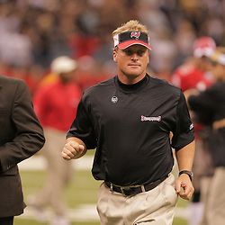 2008 September 7: Tampa Bay Buccaneers Head Coach Jon Gruden runs off the field after his lost to the New Orleans Saints 24-20 at the Louisiana Superdome in New Orleans, LA.