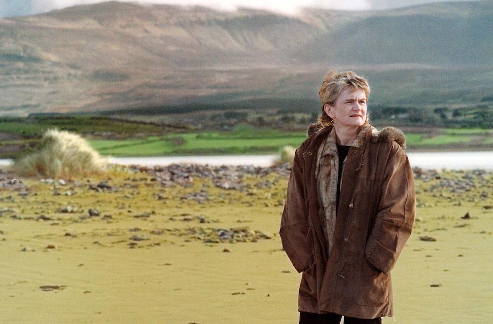 Marian Harkin, takes a walk on Streedagh Beach  (Ben Bulben in background) Co. Sligo. Photo: James Connolly/GreenGraph