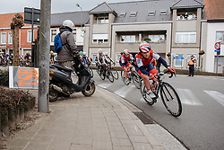 Emily Kaye carries her speed through the corner - Dwars door Vlaanderen 2016, a 103km road race from Tielt to Waregem, on March 23rd, 2016 in Flanders, Netherlands.