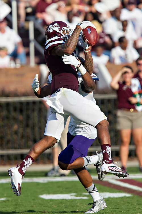 STARKVILLE, MS - SEPTEMBER 19:  Donald Gray #6 of the Mississippi State Bulldogs catches a pass while being covered by Ralpheal Green #2 of the Northwestern State Demons at Davis Wade Stadium on September 19, 2015 in Starkville, Mississippi.  The Bulldogs defeated the Demons 62-13.  (Photo by Wesley Hitt/Getty Images) *** Local Caption *** Donald Gray; Ralpheal Green