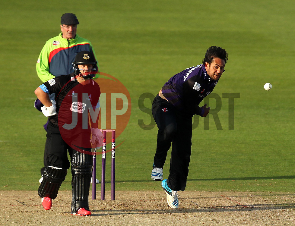 Gloucestershire's Kieran Noema-Barnett bowls - Photo mandatory by-line: Robbie Stephenson/JMP - Mobile: 07966 386802 - 26/06/2015 - SPORT - Cricket - Bristol - The County Ground - Gloucestershire v Sussex - Natwest T20 Blast