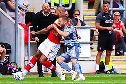 Jack Payne of Lincoln City puts pressure on Kyle Vassell of Rotherham United - Mandatory by-line: Ryan Crockett/JMP - 10/08/2019 - FOOTBALL - Aesseal New York Stadium - Rotherham, England - Rotherham United v Lincoln City - Sky Bet League One