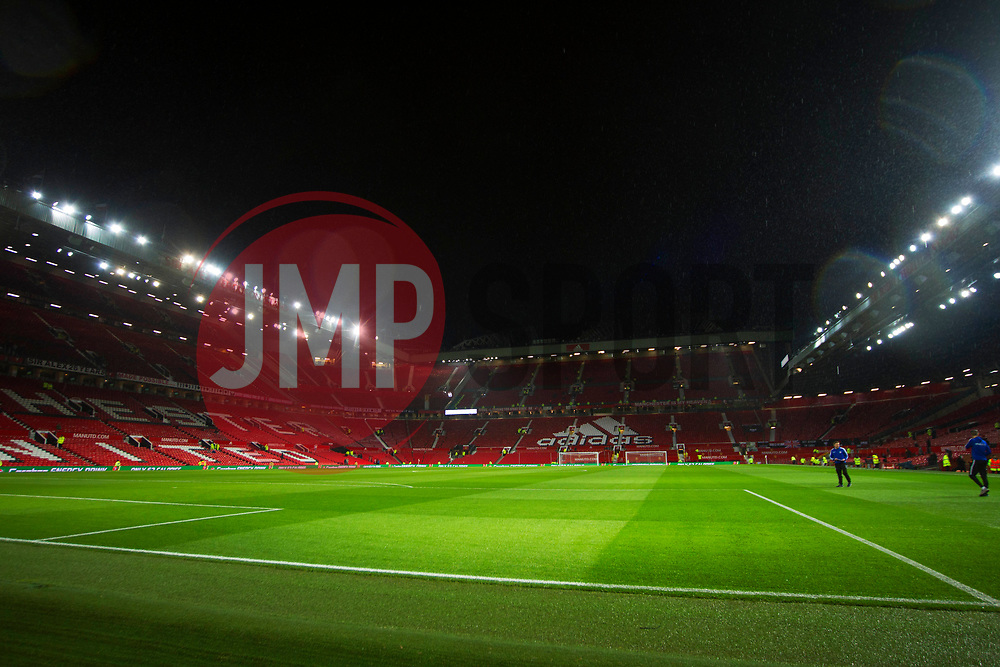 General view of Old Trafford Stadium in the rain before the match - Mandatory by-line: Jack Phillips/JMP - 18/12/2019 - FOOTBALL - Old Trafford - Manchester, England - Manchester United v Colchester United - English League Cup Quarter Final