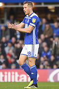 Birmingham City defender Michael Morrison (28) during the EFL Sky Bet Championship match between Birmingham City and Brentford at St Andrews, Birmingham, England on 29 December 2018.