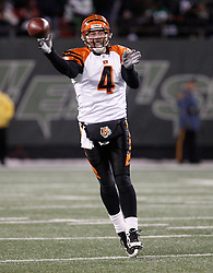 Jan 3, 2010; East Rutherford, NJ, USA; Cincinnati Bengals quarterback J.T. O'Sullivan (4) throws a pass during the second half at Giants Stadium. The Jets clinched a playoff spot with a 37-0 win over the Bengals.