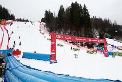 View on the track and skier during the 2nd Run of Men's Slalom - Pokal Vitranc 2013 of FIS Alpine Ski World Cup 2012/2013, on March 10, 2013 in Vitranc, Kranjska Gora, Slovenia.  (Photo By Matic Klansek Velej / Sportida.com)