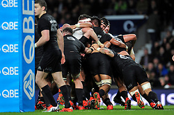 The England pack push New Zealand back over their own try-line - Photo mandatory by-line: Patrick Khachfe/JMP - Mobile: 07966 386802 08/11/2014 - SPORT - RUGBY UNION - London - Twickenham Stadium - England v New Zealand - 2014 QBE Internationals
