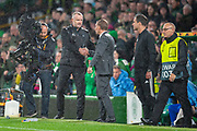 Brendan Rogers, manager of Celtic FC (right) and Rosenborg BK manager Marinus Coolen shake hands at the final whistle of the UEFA Europa League group stage match between Celtic FC and Rosenborg BK at Celtic Park, Glasgow, Scotland on 20 September 2018.