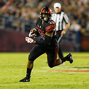 16September 2017: San Diego State Aztecs running back Rashaad Penny (20) seen here rushing the ball in the second quarter. The Aztecs lead Stanford 10-7 at half time at San Diego Stadium. <br /> www.sdsuaztecphotos.com