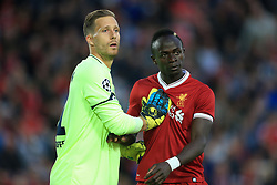 23rd August 2017 - UEFA Champions League - Play-Off (2nd Leg) - Liverpool v 1899 Hoffenheim - Hoffenheim goalkeeper Oliver Baumann pushes Sadio Mane of Liverpool - Photo: Simon Stacpoole / Offside.