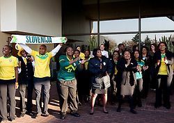 Hotel workers at departure of Slovenia National team from Southern Sun Hyde Park Hotel to airport for flight home after the last 2010 FIFA World Cup South Africa Group C  match between Slovenia and England on June 25, 2010 at Southern Sun Hyde Park Hotel, Johannesburg, South Africa. (Photo by Vid Ponikvar / Sportida)