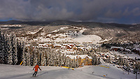 View down from ski slope to River Run Village, Keystone Resort, Colorado USA.
