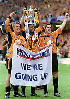 Goalscorers,Kenny Miller,Nathan Blake and Mark Kennedy  (Wolves) with the Division one play off cup. Wolverhampton Wanderers v Sheffield United. Division One play off Final @ Cardiff's Millennium Stadium. 26/5/2003. Credit : Colorsport/Andrew Cowie.
