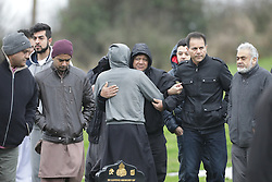 © Licensed to London News Pictures. 06/01/2017. Huddersfield, UK. The funeral of Yassar Yaqub at Hey Lane Cemmetary in Huddersfield, West Yorkshire. Yaqub, 28, from Huddersfield, was shot dead in a car stopped near junction 24 of the M62 as part of a planned police operation. Photo credit: Joel Goodman/LNP