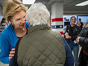 26 NOVEMBER 2019 - KNOXVILLE, IOWA: US Senator ELIZABETH WARREN (D-MA) talks to a supporter after a campaign event in Knoxville Tuesday. Sen. Warren hosted a community meeting at the Sprint Car Hall of Fame and Museum in Knoxville, IA. She is running to be the Democratic candidate for the US Presidency in the 2020 election. Iowa hosts the first selection event of the presidential election season. The Iowa caucuses are February 3, 2020.                  PHOTO BY JACK KURTZ