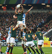 South Africa's Eben Etzebeth winning a lineout during the Rugby World Cup Bronze Final match between South Africa and Argentina at the Queen Elizabeth II Olympic Park, London, United Kingdom on 30 October 2015. Photo by Matthew Redman.