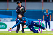 England ODI all rounder Moeen Ali fields off his own bowling during the 3rd Royal London ODI match between England and India at Headingley Stadium, Headingley, United Kingdom on 17 July 2018. Picture by Simon Davies.