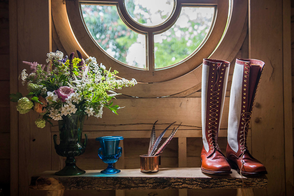 Items in the loft of the building in the M&G Garden - The Retreat. RHS Chelsea Flower Show, Chelsea Hospital, London UK, 18 May 2015.