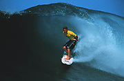 Mozambique 1998<br /> Sean Holmes comes out of the barrel at ponto do Ouro.<br /> Photo&copy;Nic Bothma/ASI